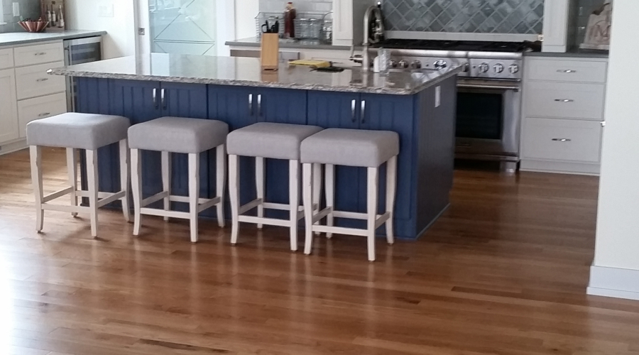 Kitchen floor finished with Somerset Natural White Oak Engineered Plank flooring